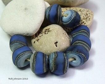 Summer Seas, Lampwork Nugget Beads, SRA, UK