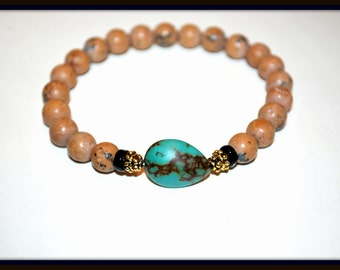 Men's Brown Stone Marble and Turquoise Stretch Bracelet, Men's Matte Stone Stretch Bracelet, Turquoise Stone Stretch Bracelet