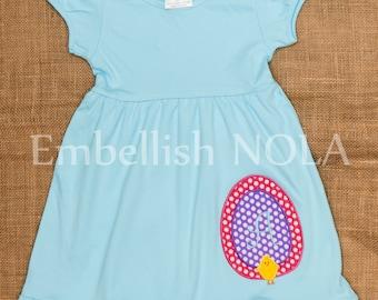 Easter Egg Chick Applique Knit Ruffle Dress in Aqua