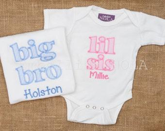SET OF 2 - Big Sister, Little Sister, Big Sis, Lil Sis, Big Brother, Little Brother, Big Bro, Lil Bro Applique Letters Shirt or Bodysuit