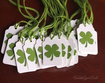 Paper Irish Shamrocks Mini Gift Tags Set of 6 St Patricks Day Four Leaf Clover 4 Leaf Clovers Mini Hang Tags