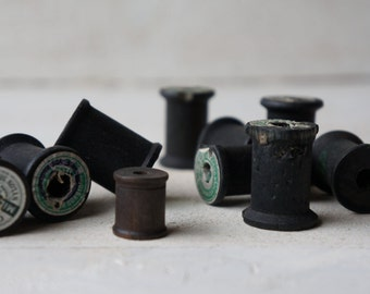 Vintage Wooden Spools, Thread, Black, Set of 5- Free Shipping