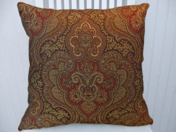 red brown paisley decorative throw pillow cover 18x18 or. Black Bedroom Furniture Sets. Home Design Ideas