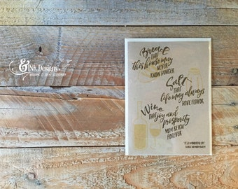 House Warming - Greeting Card - Bread Salt Wine - Welcome Home, New Home, First Home