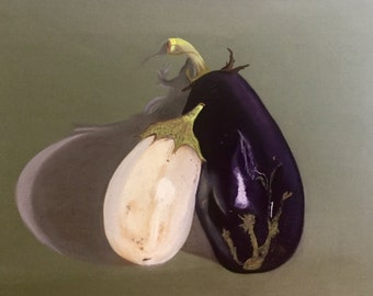 Eggplant Asian American Purple White Large Still Life Pastel Drawing Painting on Paper