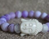 Purple Buddha Armor Bracelet Fierce Forward Purple Agate & African Trade Beads