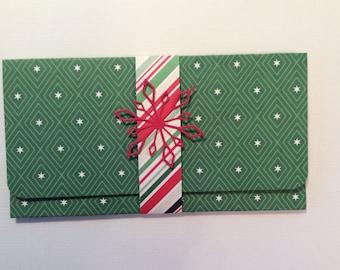 Handmade, Christmas, Money Cards, Handmade Card, Holiday Card, Handmade, Holiday, Christmas Card, Green, White, Snowflake