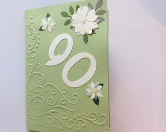 Handmade, 90th Birthday, Birthday Card, Green, Embossing, Butterfly, Flowers, 5 x 7