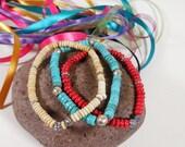 Set of 3 Bracelets: Turquoise, Red Coral, Bone