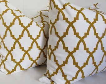 Pair Pillow Covers - Set Pillows - Gold white Pillow Cover -20x20 Gold pillow Cover -Mustard Pillow - Gold white Pillow -Pillow Cover