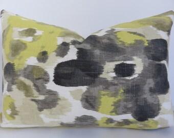 Dark Gray Yellow Cream Ikat Pillow Covers - Gray Pillow Lumbar - Yellow Gray Pillow Cover - Charcoal Pillow Covers - Pillow Covers - Pillows
