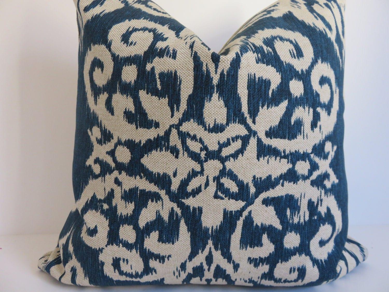 Suzani Pillow Cover 20x20 Decorative Pillow Blue Beige