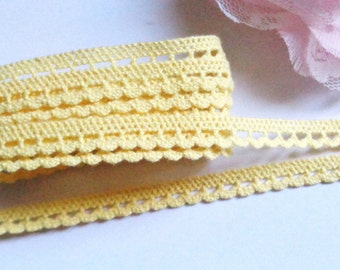 1/4 inch wide yellow cotton trim selling by the yard