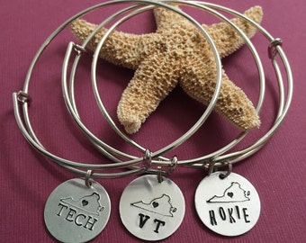 Blacksburg Love - Blacksburg, Virgina Heart Virginia Tech VT Charm - Virginia Tech Hokie Bangle - VPI Bangle - Virginia Tech Love Bracelet