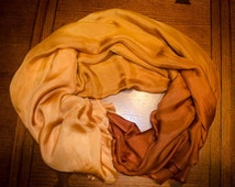 Belly Dance Iridescent Silk Chiffon Veil Gold Brown Ombre IN STOCK