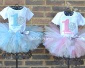 Winter ONEderland Snowflake Twin Girls' Birthday Tutu Outfit, Winter ONEderland Twin Outfit, Winter ONEderland Twin Set