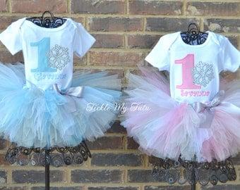Winter ONEderland Snowflake Twin Girls' Birthday Tutu Outfit-Winter ONEderland Twin Outfit-Winter ONEderland Twin Set-Snowflake Birthday Set