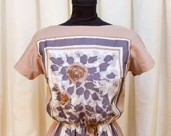 1960s Dress // Silk Rose Scarf Panel Beige Dress by Rona