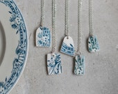 Ceramic Pendant Necklace made of Antique Transferware French Plates - Blue Teal  Gift for Her Under 25