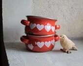 Valentine's Enamel Bowl // 1960 Enamelware // Red & White Hearts