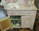 SALE Antique Painted Oak Wash Stand ASCP Antoinette Cabinet Farmhouse Chic Dresser Candle Holders Cottage Commode