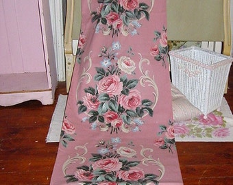 Vintage Pink Barkcloth Era Roses Fabric Yardage Available Pink Cabbage Roses