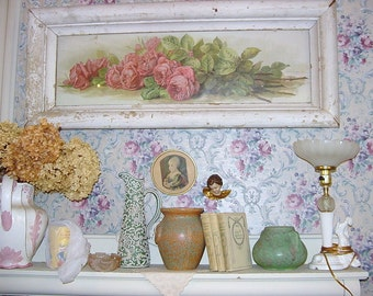 Antique Molding Frame Paul De Longpre Print Pink Roses Yard Long