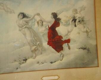 SALE Antique 1896 Chromolithograph Maidens Cherubs Roses Aurora Taber Prang L. Capaldo '96