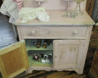 Antique Painted Oak Wash Stand Cabinet Dresser With Candle Stick Holders ASCP Antoinette Old Green Cottage Dresser Chic