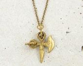 Men's Tibetan Brass Cross Sword Pendant Vajra Dorje Bronze Dagger Amulet Necklace