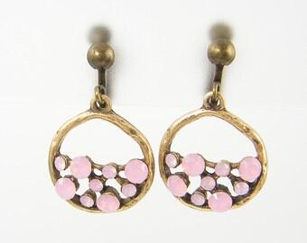 Pink Clip on Earrings Antique Brass Hoop Clip Earrings Circle Molecule Rhinestone Clip Dangle Screw Back Earrings |EC1-40