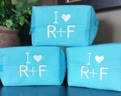 3 Small Waffle Bags. . .Wedding Gifts for Bride, Bridesmaids, Moms. Great for Makeup, Travel or just to help you organize - Monogrammed FREE