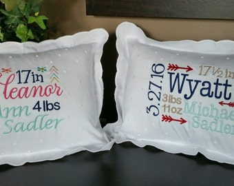 Beautiful Birth Announcement embroidered baby pillow for girls or boys - the perfect Gift