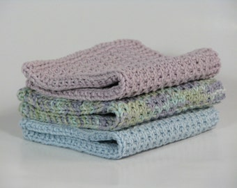Hand knitted dish cloth - wash cloth - soft cotton set of 3 light lavender patel multicolored light blue