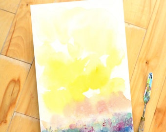 Original Watercolor Painting, Landscape, Fine Art, Floral, Modern Art, Minimalist, Sky, Clouds, sunset, Abstract Art, Bohemian