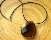"Simple modern smoky quartz necklace with faceted briolette pendant and jet black glass beads 18"" ready to ship"