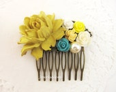 Flower Hair Comb for Bride, Bridal Comb, Custom Wedding Hair Accessories Hair Comb, Autumn Mustard Yellow Teal Cream Floral Hair Slide