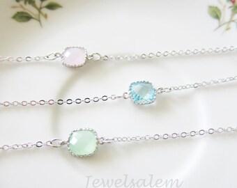 Bracelet Silver Bracelet Pink Bracelet Mint Bracelet Aquamarine Bracelet Blue Bracelet Modern Layered Bracelet Delicate Dainty Bracelet C1