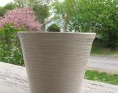 """Mid Century McCoy Pottery White Plant Pot / Cache Pot c. 1940 - 1950, 5"""" ht. 5-3/4"""" diameter"""