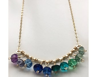 14k Gold Filled Bar Necklace With Purple, Blue and Green Ombre Quartz Beads/ Gold Boho Chic Gemstone Jewelry