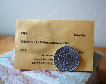 Vintage Indonesia 50 Sen Aluminum Coin 1961 Uncirculated Coin Little Coin Company Coin Collectable Coin from The Eclectic Interior