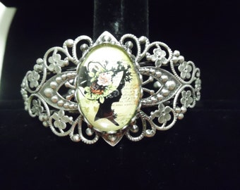 Victorian Lady Filigree Cuff Bracelet-Brown Boot