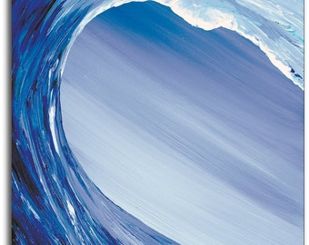 "Blue Wave Art Print by Tamara Kapan titled ""Crossing The Threshold"" // Surf Art // Wave Art // Custom Made to Order"