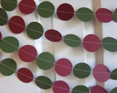 Christmas Garland, Red and Green Paper Garland, Paper Garland, Holiday Garland, Hunter Green and Berry Garland, Christmas Decorations
