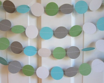 Paper Garland, 1st Birthday Decoration, Blue and Green Paper Garland, Blue Bridal Shower Decorations, Baby Boy Shower Decorations,
