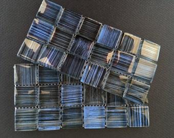 Blue & Black Striped Glass Tiles