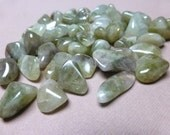 Tumbled Prasiolite. Small. Green. Tumbled Stone. Crystal. Wicca. Gemstone Un-drilled. Wire Wrapping. 12mm x 22mm. One (1)
