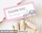Elephant Thank You Labels - Elephant Baby Shower - Girl Pink - INSTANT DOWNLOAD - Printable PDF with Editable Text