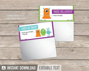 Halloween Labels - Monsters Theme - Bag Toppers - INSTANT DOWNLOAD - Printable PDF with Editable Text