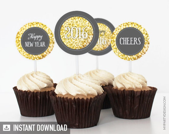 New Year's Eve - Golden Glitter Party - Cupcake Toppers - - Party Circles - INSTANT DOWNLOAD - Printable PDF